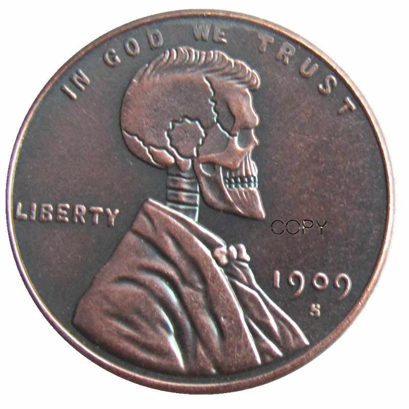 Ons (10) Hobo Nikkel 1909 S Schedel Zombie Skeleton Hand Gesneden Coin Copy