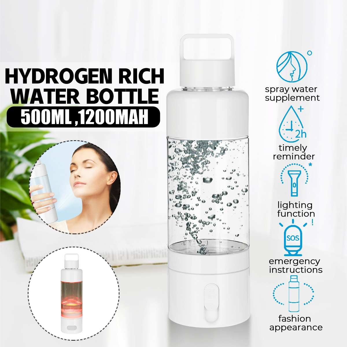 500ml Hydrogens Rich Water Bottle Ionizer Water Pure Bottle Generator With Light Drinking Remind Rechargeable Multifunction