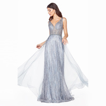 2020 Sexy V Neck Blue Long Prom Dresses Glitter Tulle Crysta