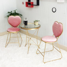 Iron heart shaped dining chair creative chair nail coffee lounge chair with soft cushion gold simple dressing chair