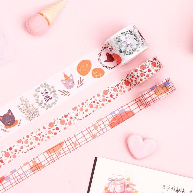 4 Pcs/set Kawaii Washi Tape Set Vintage Masking Tape Decorative Adhesive Tape Washi Tape Flower Decorative Tape Washi Tape Lot