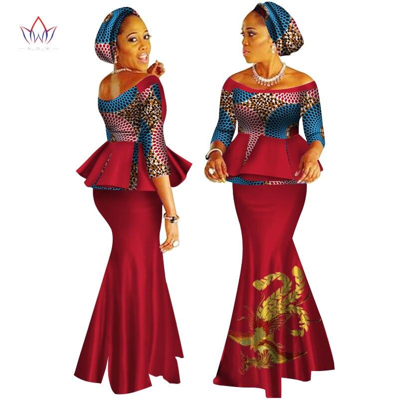 African Dashiki Print Dress Crop Tops&Skirt Set Hand Made Off Shoulder Half Sleeve African Women Clothing Long Skirt Set WY2626