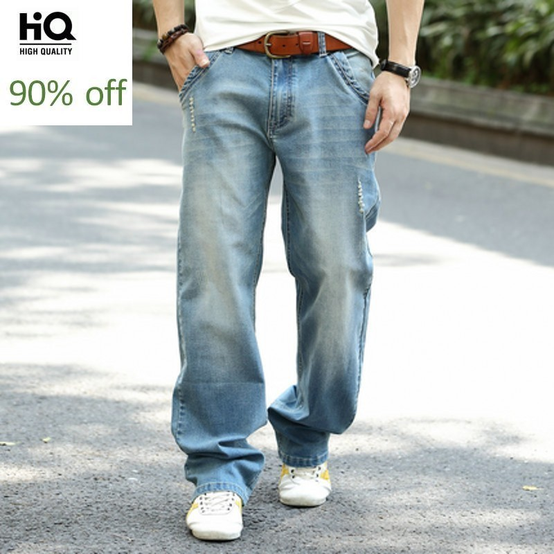 Mens Wear 2020 Hot Fashion Business Classicl Straight Jeans For Men Solid Loose Fit Pants Man Casual Trousers Plus Size 40 To 44