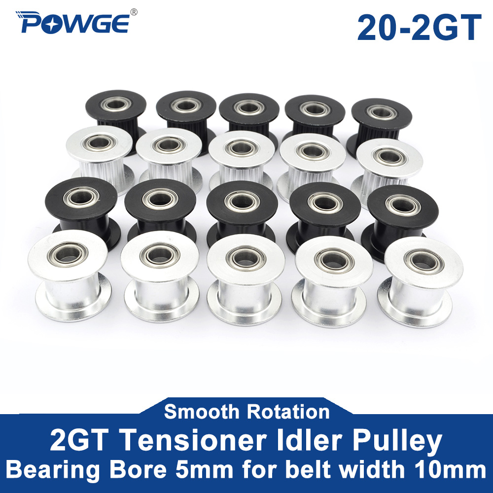 POWGE 5pcs 2M 2GT 20 Teeth Synchronou Idler Pulley Bore 5mm Black with Bearing for GT2 Open belt Width 10MM 20teeth 20T Wheel(China)