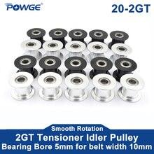 POWGE diámetro interno de la polea pasiva, 5 uds., 2M, 2GT, 20 dientes, 5mm, negro, con rodamiento para cinturón abierto GT2, ancho de 10MM, 20 dientes, rueda de 20 T