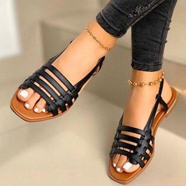 2020 sandalias de mujer gladiador de Punta abierta Casual zapatos de playa de mujer ahuecados planos de mujer calzado de verano al aire libre talla grande 5