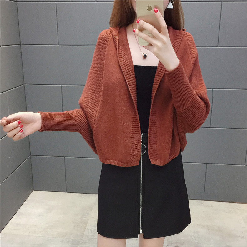 2019 Free send New style Korean loose and comfortable Autumn women Cardigan Sleeve of bat Hooded Sweater coat 110