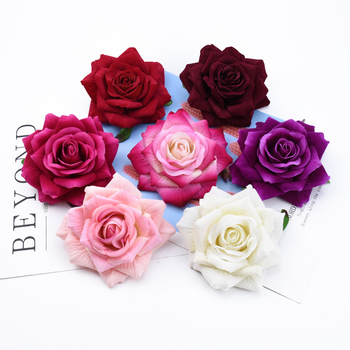1/5 Pieces 10CM velvet roses head Valentine's Day gifts wedding bridal accessories clearance home decor artificial flowers cheap image