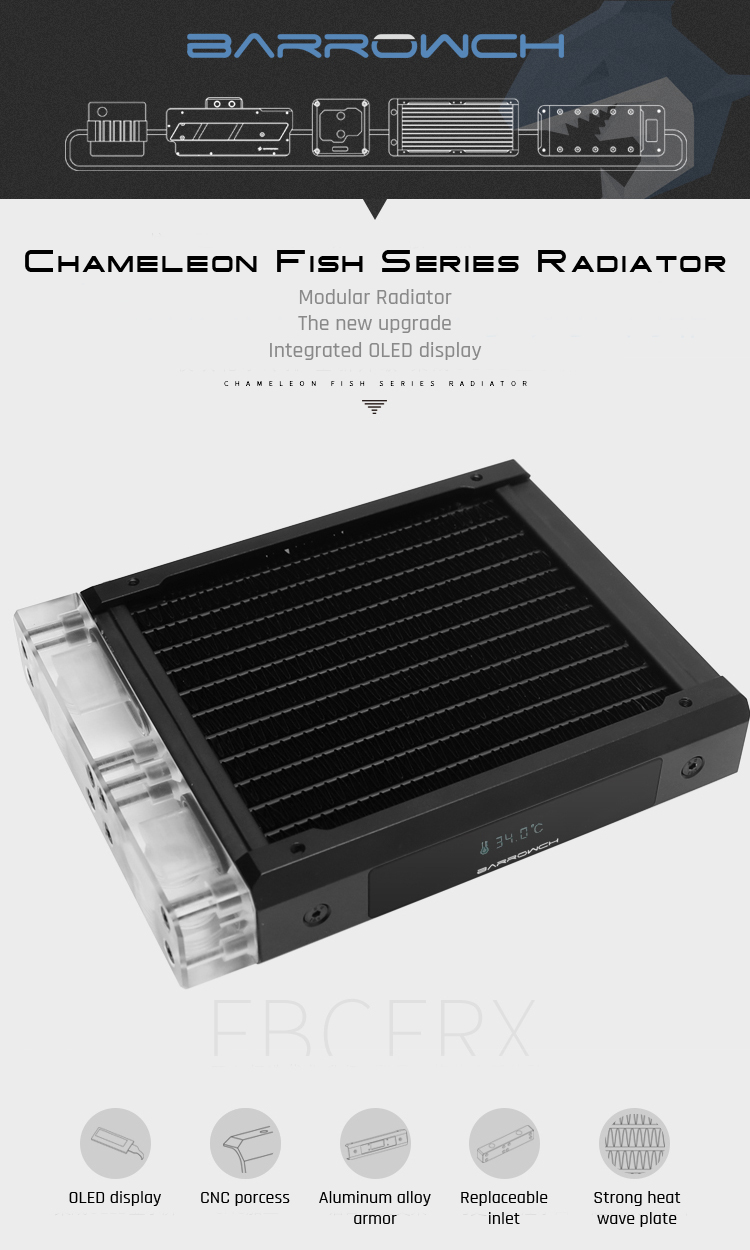 Barrowch FBCFRX, Chameleon Fish Modular 120/240/360/480mm Radiator With OLED Display, Acrylic/POM Inlet Module Suitable, For 120mm Fan