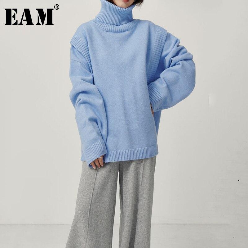 [EAM] Blue Split Big Size Warm Knitting Sweater Loose Fit High Collar Long Sleeve Women New Fashion Spring Autumn 2020 1D894