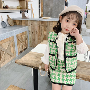 Image 2 - 2019 الخريف جديد وصول الكورية نمط مجموعة ملابس منقوشة سترة مع تنورة صغيرة أزياء الأميرة دعوى للفتيات طفل الحلو