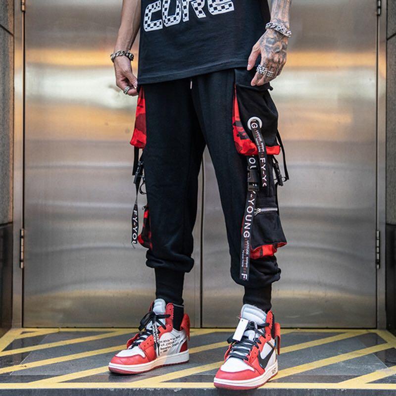 2020 new hip-hop jogger men's black harem overalls multi-pocket ribbon men's sports pants streetwear casual men's casual pants 2