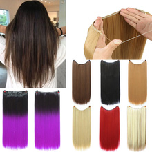 Lupu 24 Inch Fishline Silk Hair Extensions Natural Wavy Blac