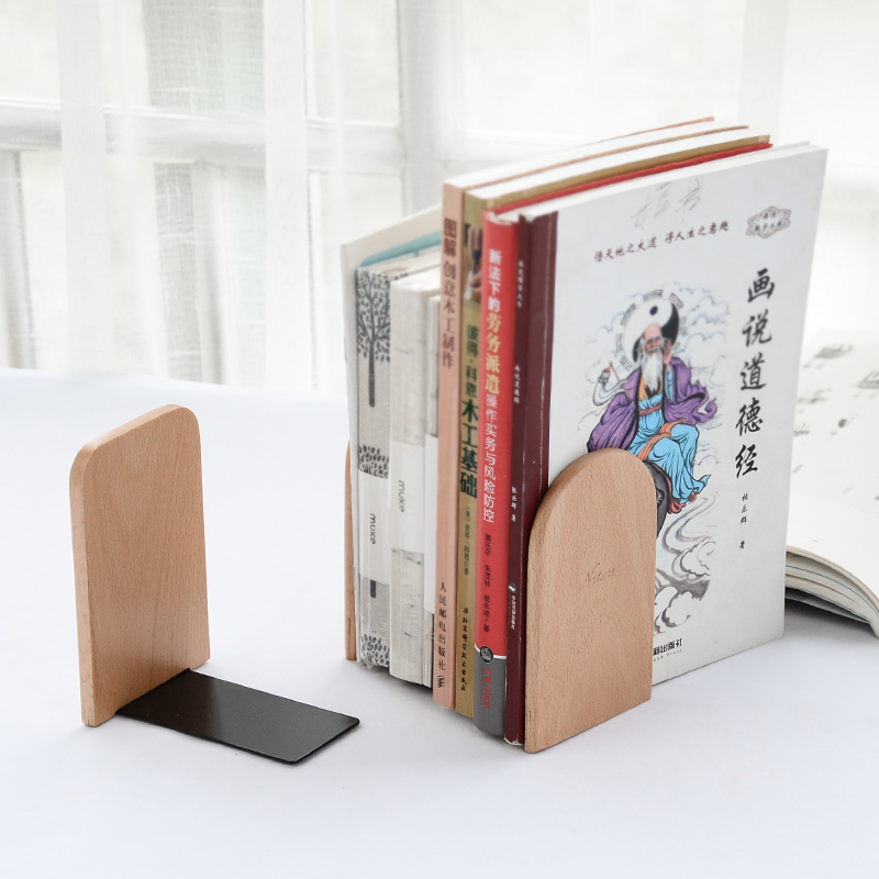 JIANWU 2pcs/set Simple creative Wooden Bookends desktop storage rack