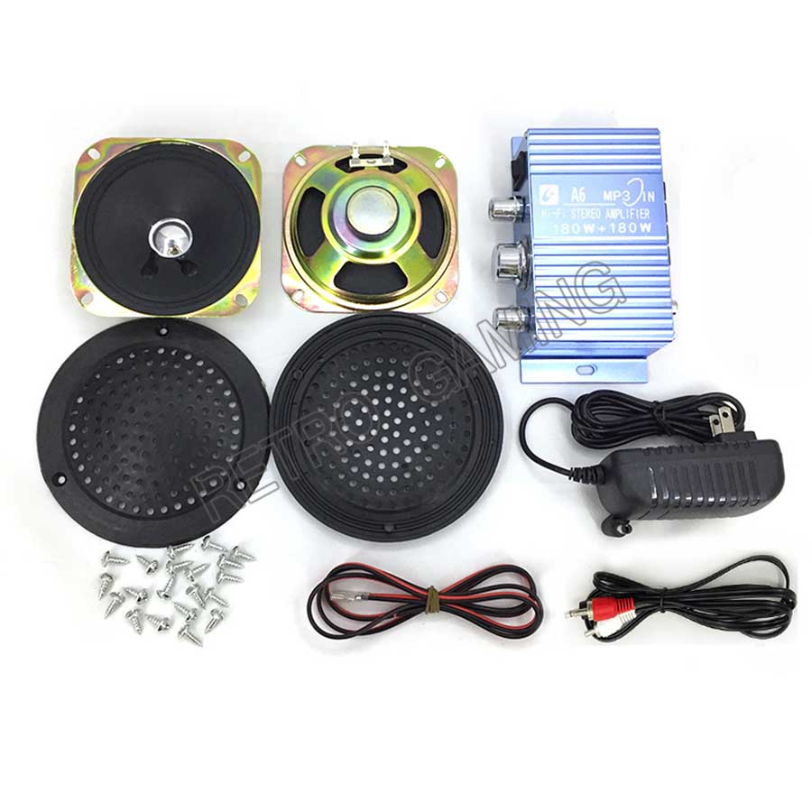 Arcade Game Audio Kit HIVI Stereo Amplifier + Power Adapter + Speaker + Cables For Arcade Cabinet Game Machines