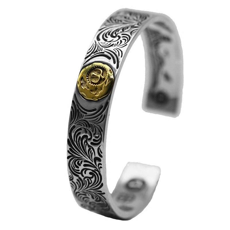 Sterling Silber Offene Armreif personalisierte retro mode Indische messing Adler Feder Stil hohe ende geschnitzte einfache armbänder geschenk - 6