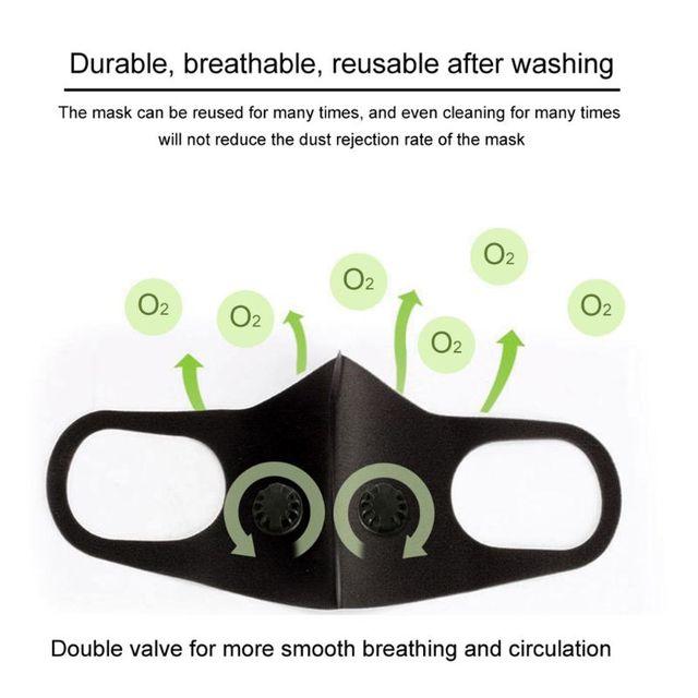 Adult Double Breathing Valve Mouth Mask Dustproof  -Fog Haze PM2.5 Saliva Prevention Polyurethane Sponge Fa  Shield 4