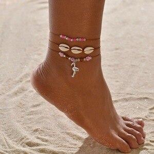 Obrączki dla kobiet shell biżuteria na stopy Summer Beach bransoletka boso kostki na nogawkach pasek na kostkę akcesoria czeskie powłoki obrączki