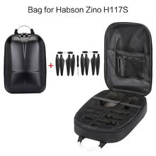 цена на Waterproof Hard Shell PC Backpack Box Case Carrying Bag and 2 Pairs Propellers for Hubsan Zino H117S RC Quadcopter Drone Accesso