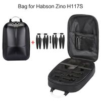 Waterproof Hard Shell PC Backpack Box Case Carrying Bag and 2 Pairs Propellers for Hubsan Zino H117S RC Quadcopter Drone Accesso