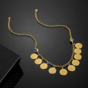 Image 4 - No Faded Allah Muslim Arabic Islam Necklace Long Gold Beaded Link Chains Turkish Middle East Bracelet Allah Jewelery Set