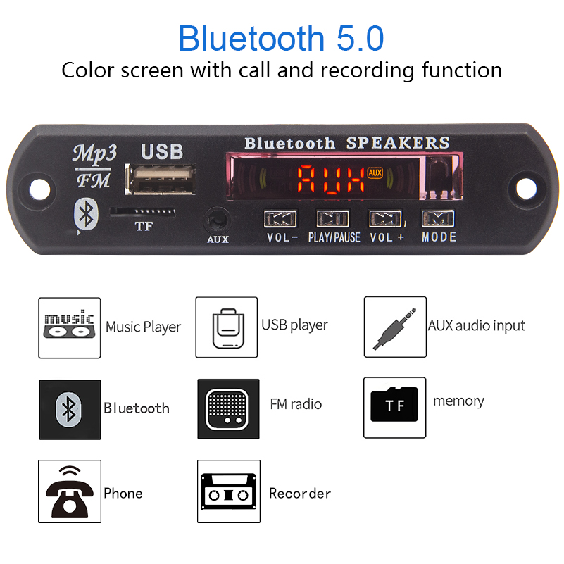 Bluetooth 5,0 Empfänger Auto <font><b>Kit</b></font> <font><b>MP3</b></font> <font><b>Player</b></font> <font><b>Decoder</b></font> <font><b>Board</b></font> Farbe Bildschirm FM Radio TF USB 3.5 Mm AUX Audio Für Iphone XS image