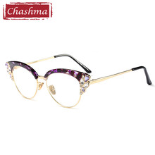 Chashma Rhinestone glasses women prescription glasses okulary fotochromowe lentes opticos para mujer(China)