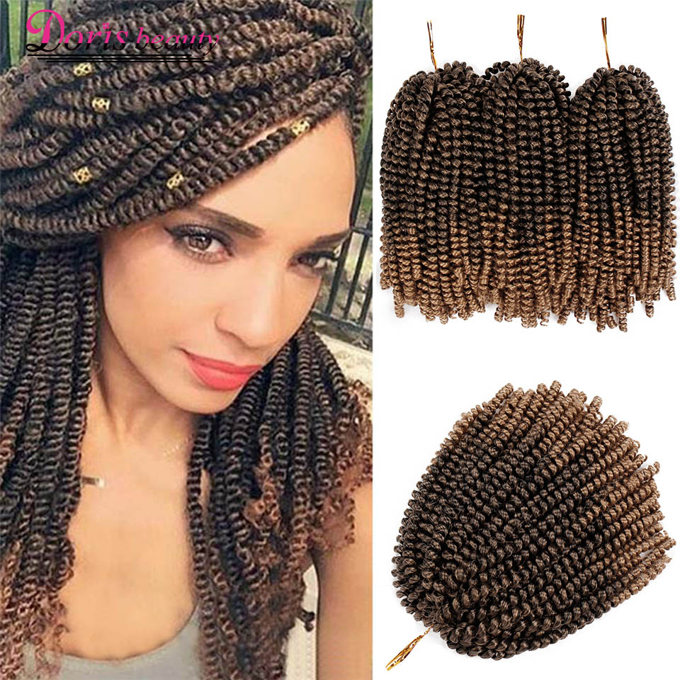 Spring Twist Hair Ombre Braiding Hair 8 Inch Crochet Braids Synthetic Hair Extensions Braids Twists Fluffy Rainbow Color