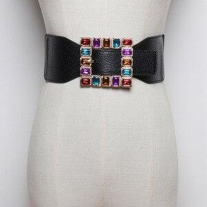 Image 1 - Ceintures en strass colorées avec boucles carrées, tendance, Punk, en cuir, large élastique, pour robe, ceinture pour ceinture, accessoires