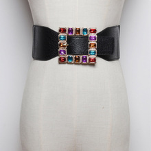 Fashion Colorful Rhinestone Square Buckle Belts for women Punk Leather Elastic Wide off belt for Dress Waistband Accessories