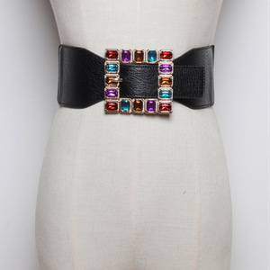 Image 1 - Fashion Colorful Rhinestone Square Buckle Belts for women Punk Leather Elastic Wide off belt for Dress Waistband Accessories