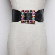 Moda kolorowe Rhinestone kwadratowa klamra paski dla kobiet punkowa skórzana elastyczna szeroki pas do sukienka z paskiem akcesoria