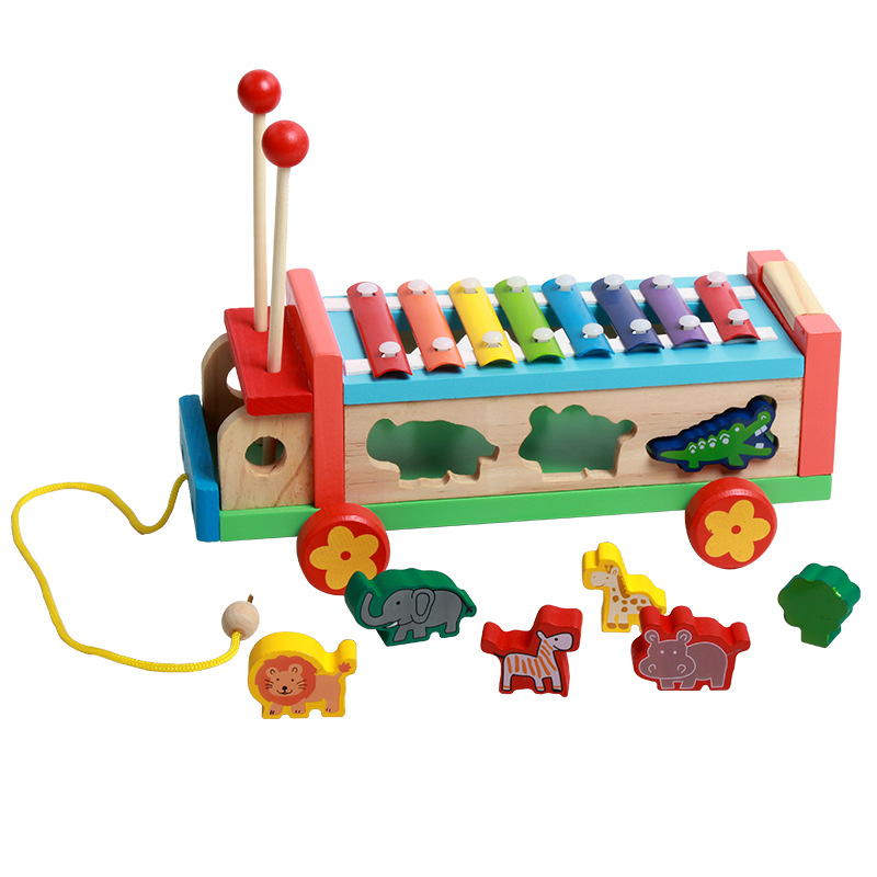 Wood Mom Children'S Educational Stereo Animal Tractor Knock Piano Shape Matching Drag Music Box Car Building Blocks Toy