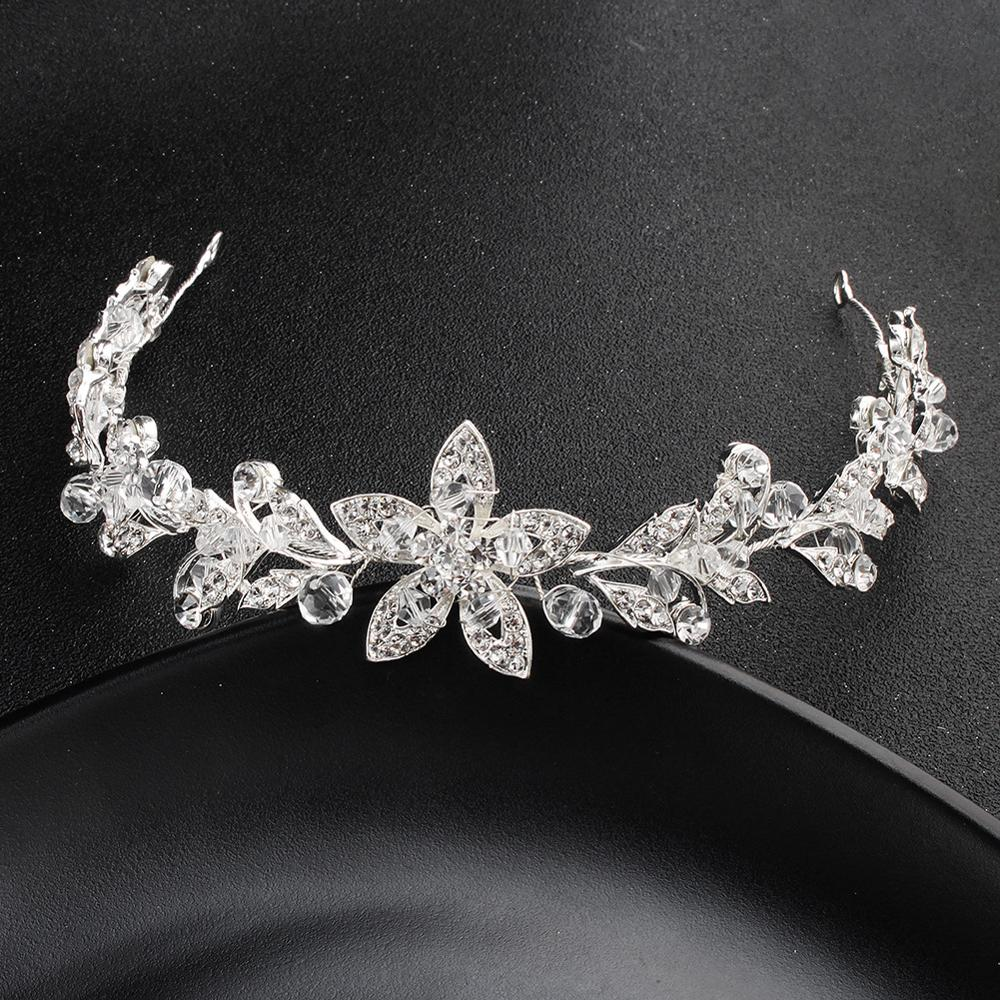 Bride Headdress Silver Bride'S Diamond And Pearl Flower Headdress Of Adorn Article Bride Hair Band TS96
