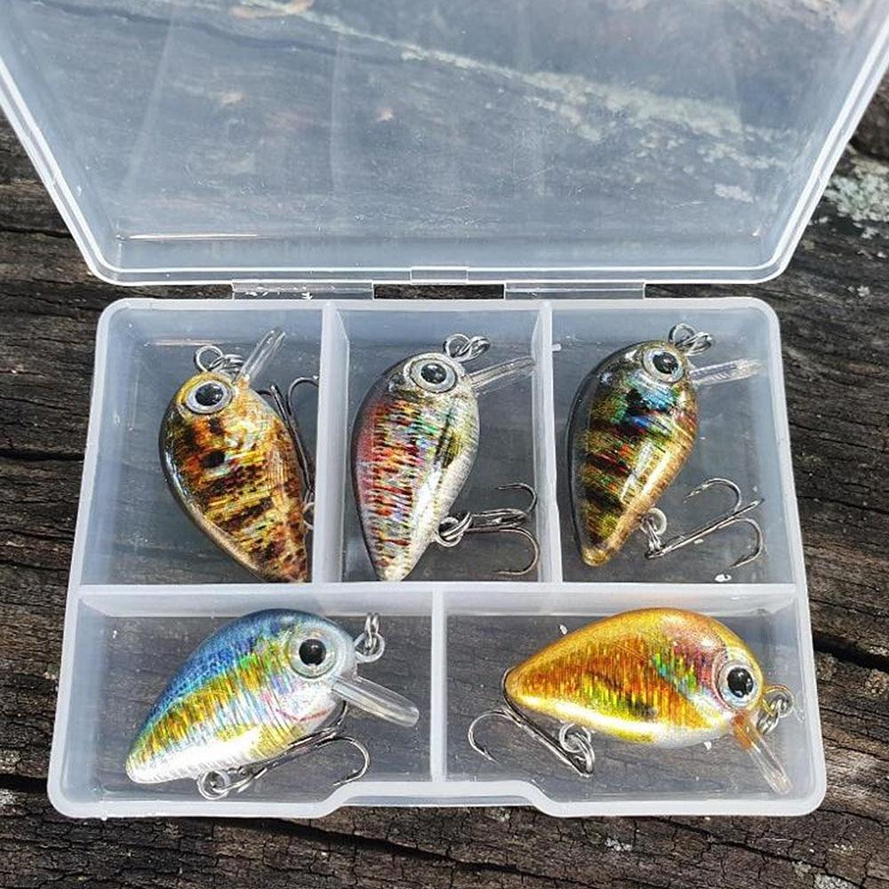 TREHOOK Mini Crankbaits Fishing Lures 1.8g 3cm 5pcs Cranks Wobblers Sets Of Lures Hard Floating Kit Artificial Fishing Bait Pike