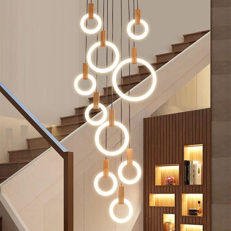Modern LED stair chandelier lighting Nordic living room ...