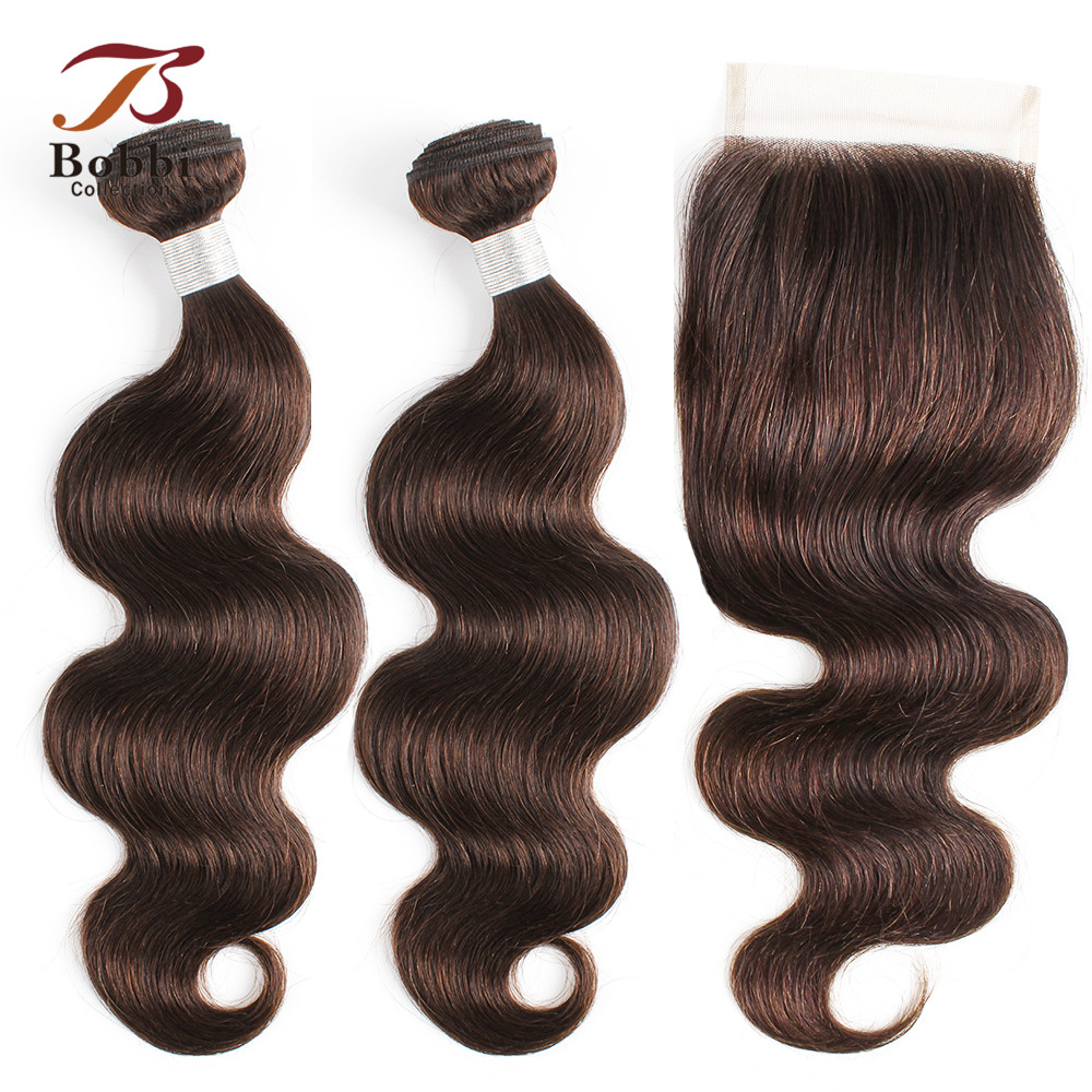 BOBBI COLLECTION Color 2 Dark Brown Body Wave Hair 2/3 Bundles With Lace Closure Indian Non Remy Human Hair Weave 12-24 Inch