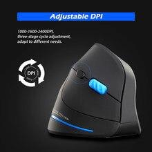 ZELOTES – souris de jeu verticale, 2400 DPI, optique, sans fil, 2.4 ghz, USB, pour PC, ordinateur portable, bureau, maison