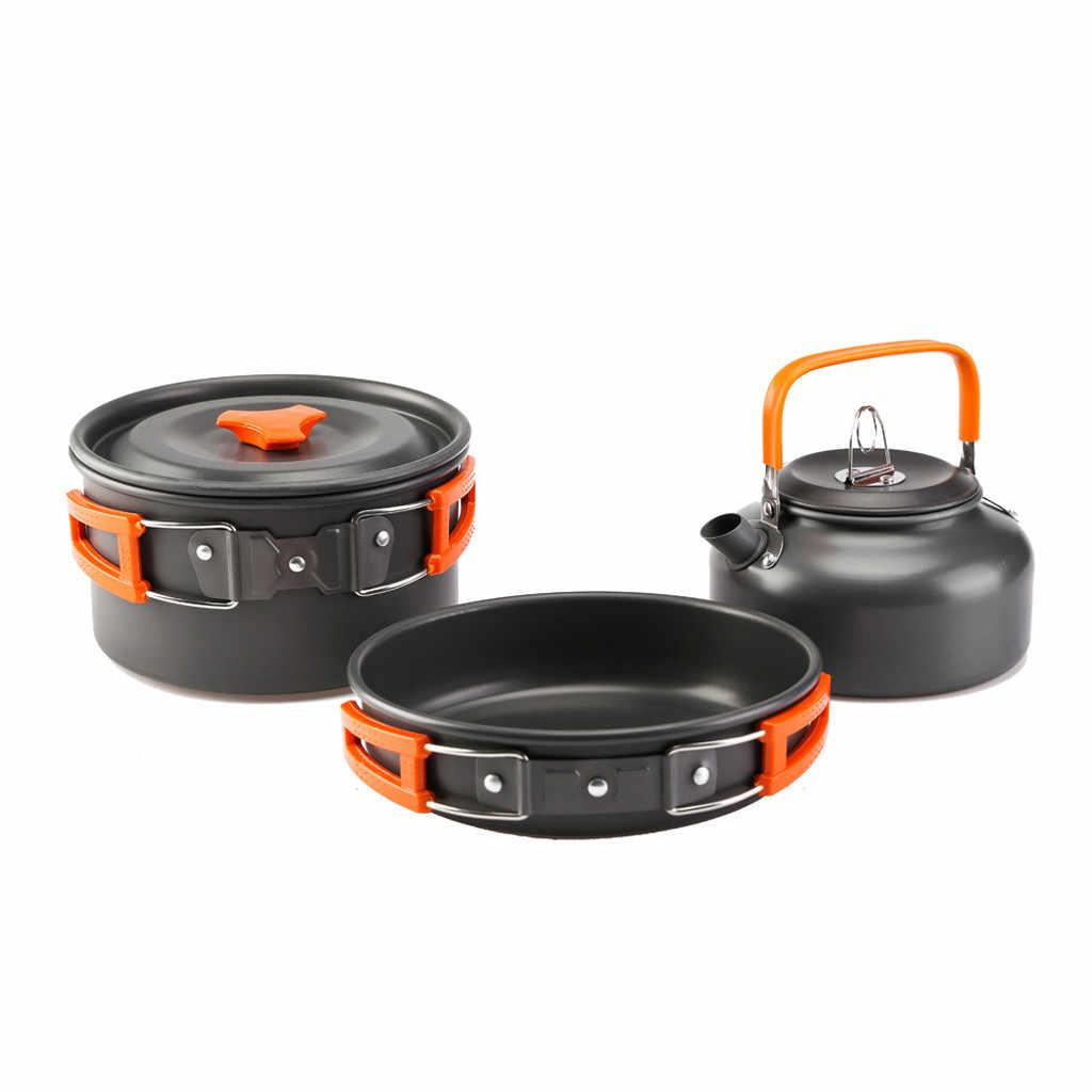 Berkemah Peralatan Masak Set Outdoor Portable Camping Pot 1-2 Orang Liar Picnic Barbecue Tableware Pot Perjalanan Pan Hiking Piknik alat
