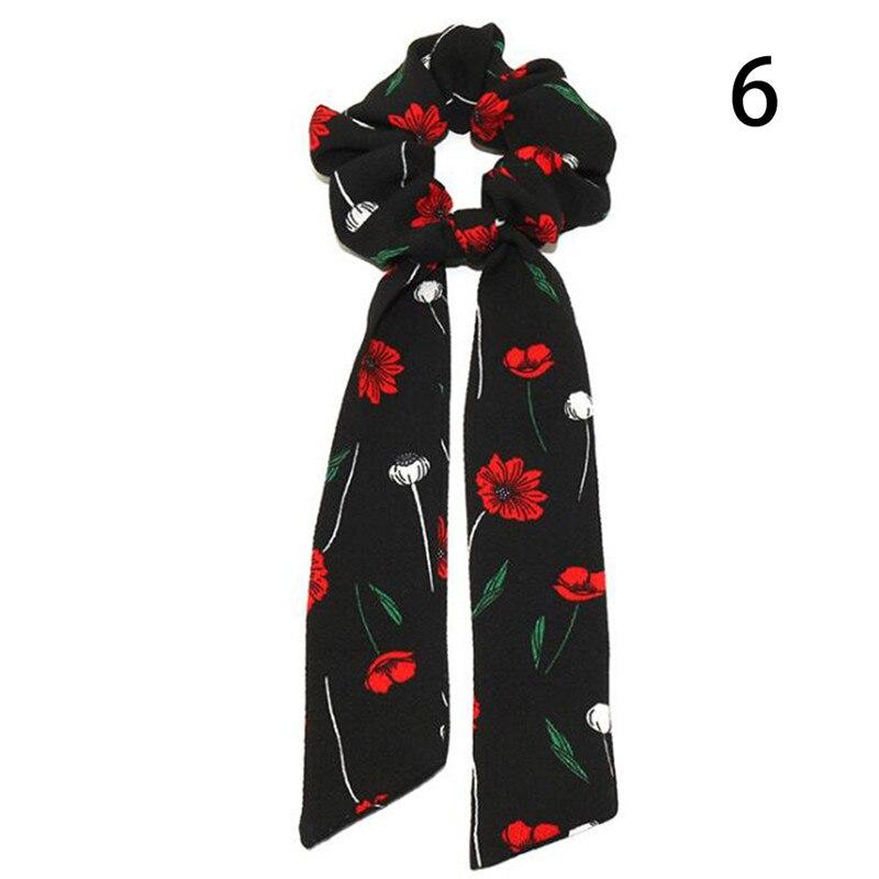 Femmes banderoles chouchous à pois imprimé Floral élastique noeud cheveux corde fille cheveux cravates coréen doux cheveux accessoires chapeaux 53