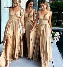 Сексуальная сторона Сплит V-образным вырезом шампанское золото невесты Платья длинные элегантных женщин платье для свадьбы плюс размер