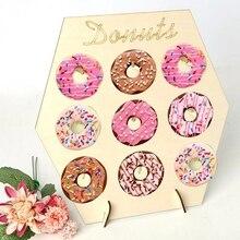 1 takım ahşap Donuts duvar standı Donuts DIY tatlı kek vitrin rafı düğün parti bebek duş çocuk doğum günü partisi malzemeleri