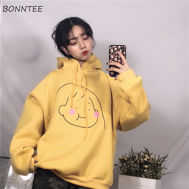 Hoodies Women Winter Hooded Thicker Plus Velvet Cartoon Printed Kawaii Pullovers Womens Korean Harajuku Oversize Sweatshirts