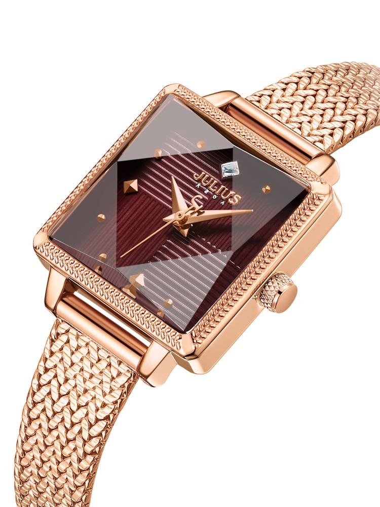 New 4 Colors Small Square Julius Women's Watch Japan Mov't Hours Elegant Fashion Clock Metal Bracelet Girl's Gift Box
