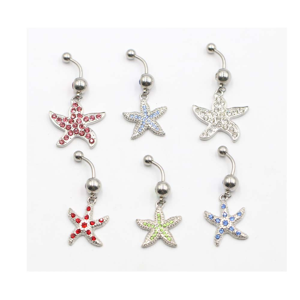 1Pc New High Grade Rhinestone Belly Button Red Cherry Navel Barbell Ring Body Piercing Hot Sale