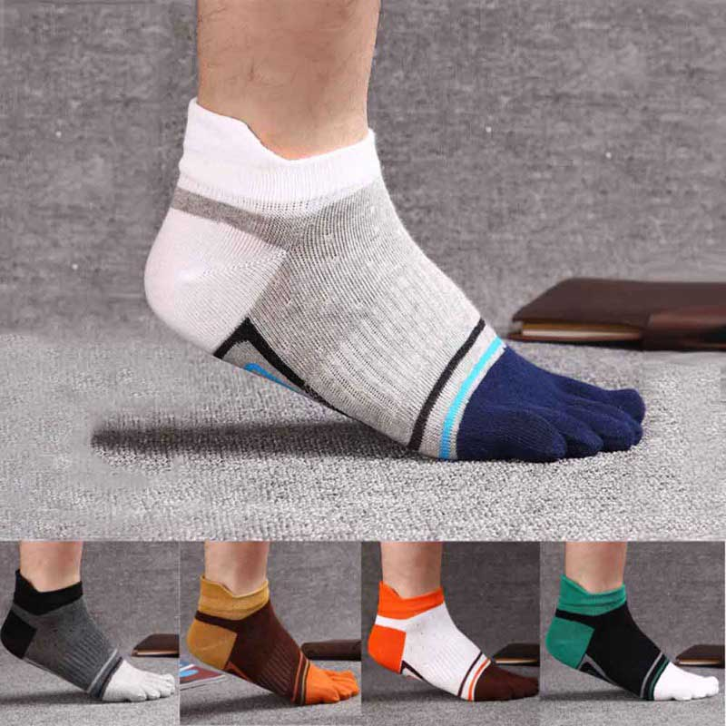 1 Pair 39-43 Toe Socks Lady Men Finger-separated Odor Resistant Cotton Polyester Spandex Ankle Hosiery