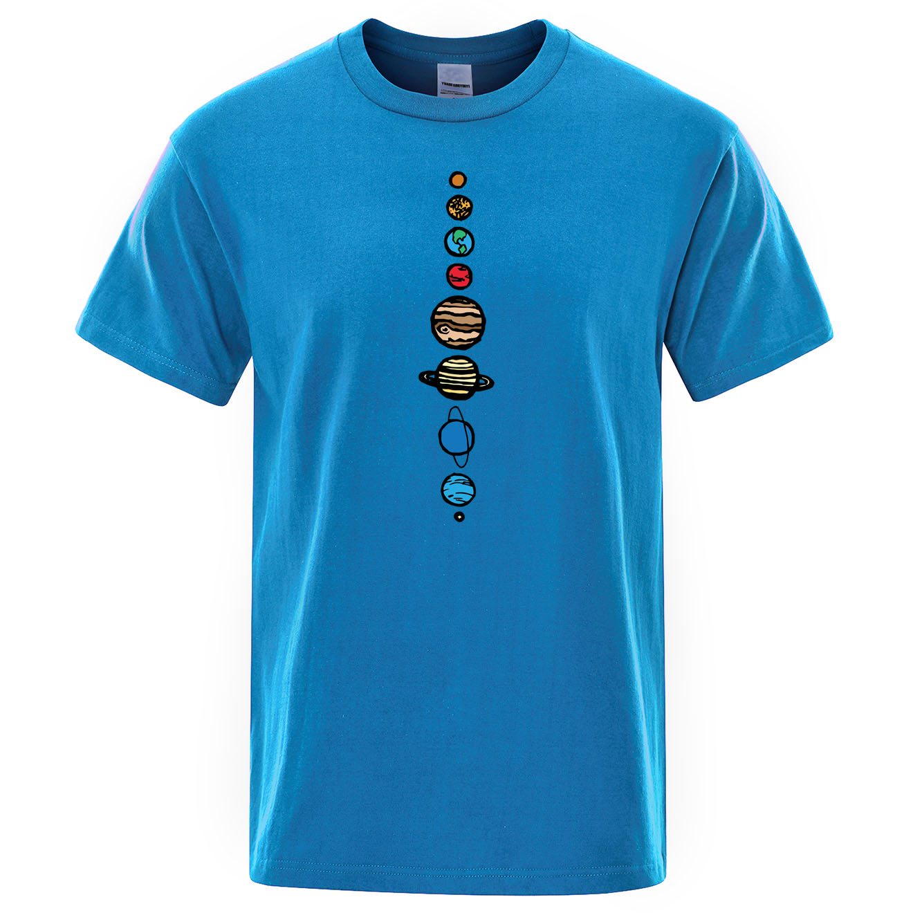 Nine Planets Mens T-Shirt Universe Solar System Men Tops Cotton Short Sleeves O-Neck T Shirt Planets Colour Vintage Tee Shirt image