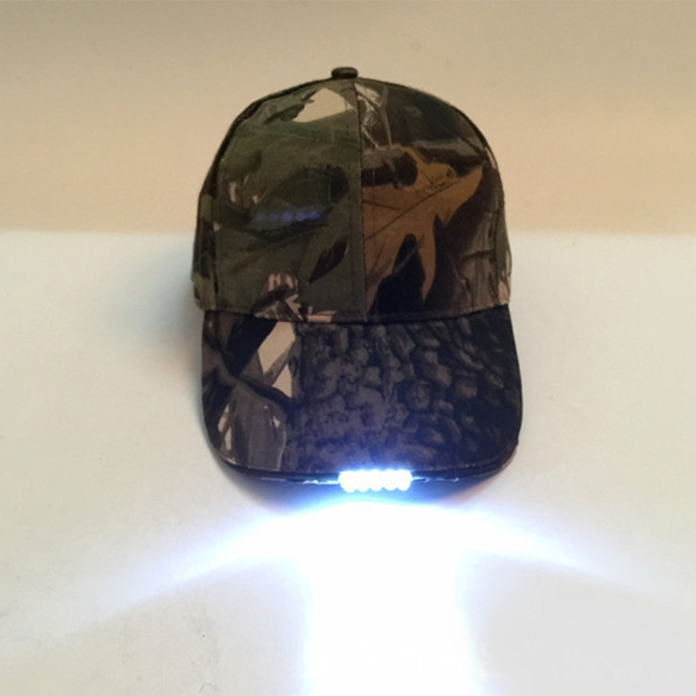 new Hot Selling Adjustable Bicycle 5 LED Light Cap Battery Powered Hat Outdoor Baseball Practical Fishing Camping