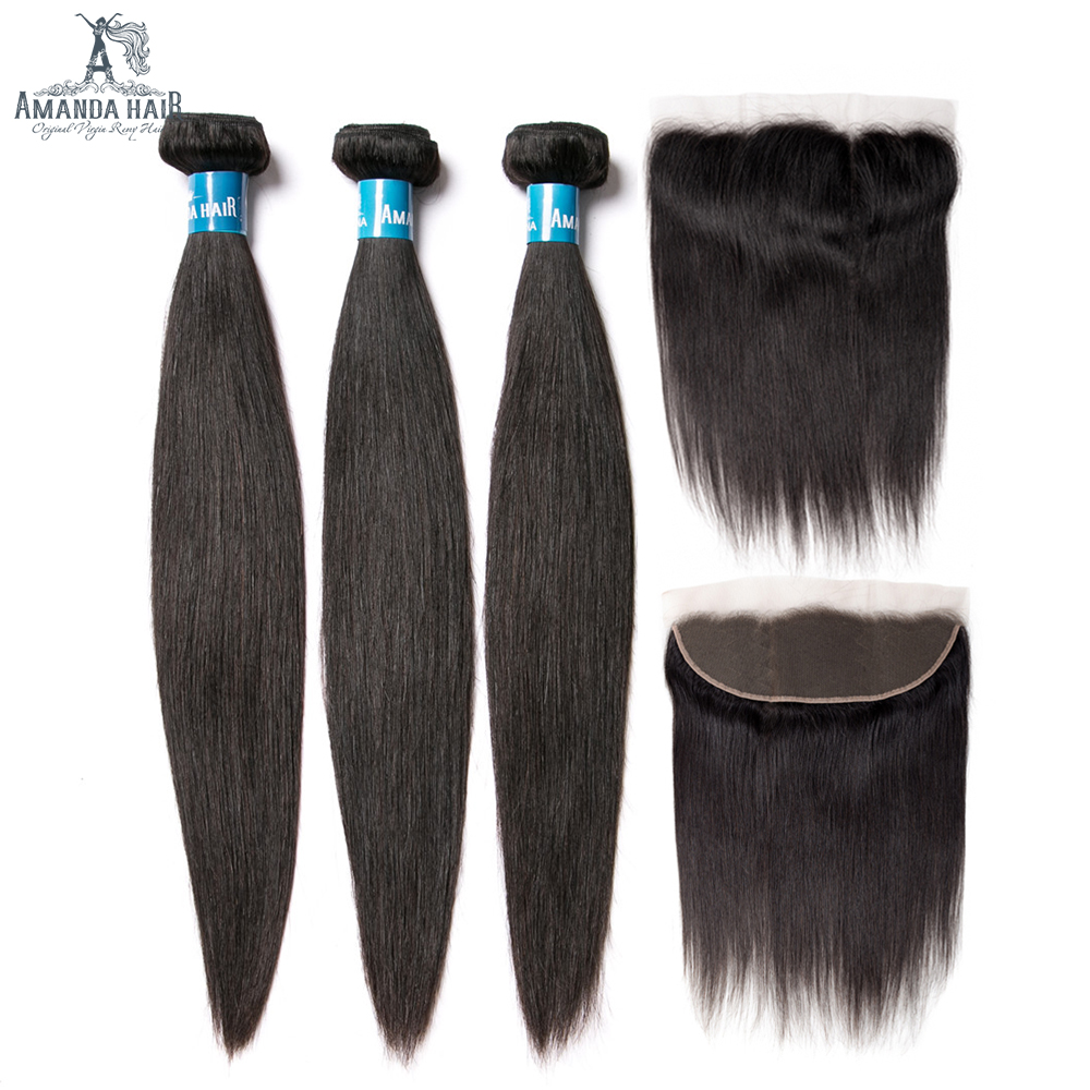 Amanda Brazilian Straight Hair Bundles With Frontal Natural Color M Remy Human Hair Bundles With Closure 13x4 130% Density