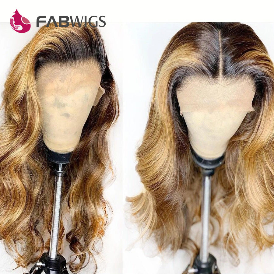 Fabwigs Ombre 1b 27 Honey Blonde Lace Front Human Hair Wigs Pre Plucked Brazilian Remy Lace